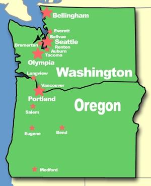Crescent City California To Port Angeles Washington - Washington oregon map